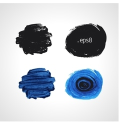 Black and blue grunge hand drawn round blobs vector image vector image