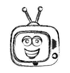 blurred silhouette of antique tv device with smile vector image