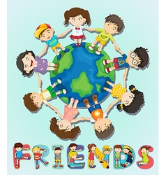 Boys and girls standing around the world vector image
