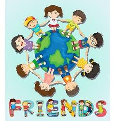 boys and girls standing around world vector image