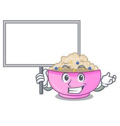 Bring board character a bowl of oatmeal porridge vector