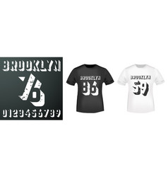 Brooklyn numbers stamp and t shirt mockup vector