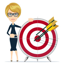 Business woman holding target with arrow vector