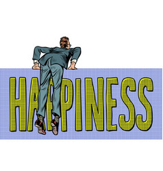 businessman climbs over the fence happiness word vector image
