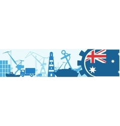 Cargo port Australia flag in gear vector