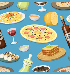 cartoon italy food cuisine homemade seamless vector image