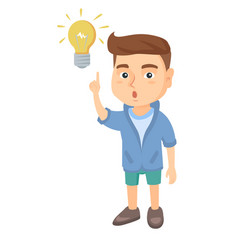 caucasian little boy pointing at the lightbulb vector image