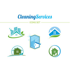 Cleaning services icons set vector