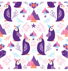 colorful penguins in santa hats seamless pattern vector image