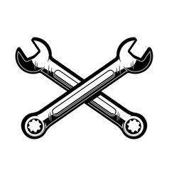 Crossed wrenches design element for poster emblem vector
