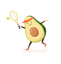Cute and funny avocado playing tennis in cap vector