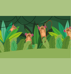 cute monkeys trees grass forest nature wild vector image