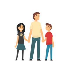 dad son and daughter holding hands father and vector image