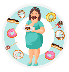 Fat woman with plate of donuts surrounded with vector
