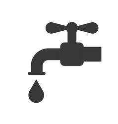 Faucet and water droplet icon saving water concept vector