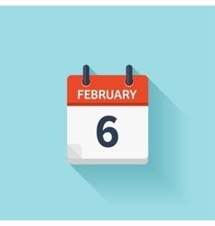 february 6 flat daily calendar icon date vector image