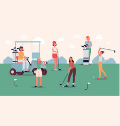 female golf player team standing on green course vector image