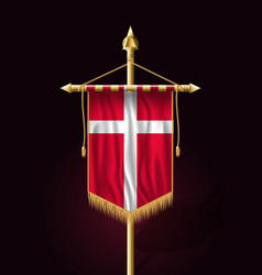 Flag of denmark festive vertical banner wall vector