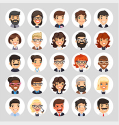 Flat business round avatars on white vector
