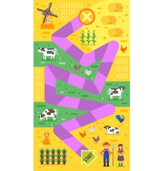 Flat style of kids farm board game template vector