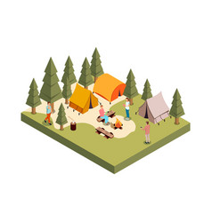 forest camp isometric composition vector image