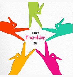 Friendship day paper cut friend hands card vector
