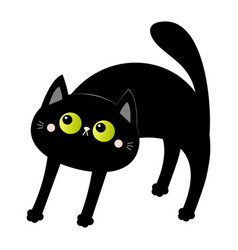 Frightened black cat arch back screaming kitten vector