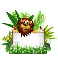 Funny brown lion with blank sign vector
