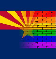 Gay rainbow wall arizona flag vector