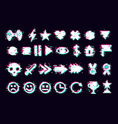glitch icons set interface navigation elements vector image