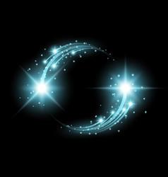 Glittering star dust circle of lights aqua color vector