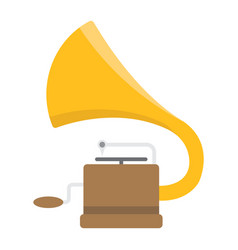 Gramophone flat icon music and instrument vector