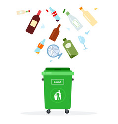 green trash can for glass waste flat isolated vector image