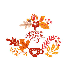 greeting card with text welcome autumn orange vector image
