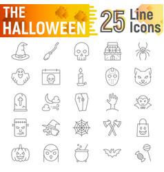 Halloween thin line icon set spooky symbols vector
