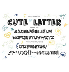 hand drawn alphabet with letters numbers vector image