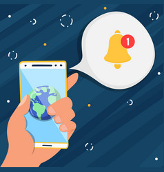 hand holding phone with app notification vector image