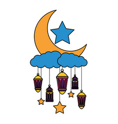 Hanging lanterns moon stars decoration vector