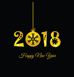 happy new year 2018 on black vector image