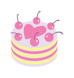 happy valentine day icon with cake vector image