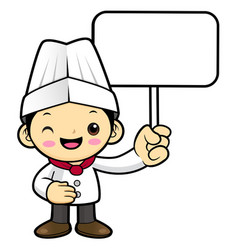 head chef character is holding a picket isolated vector image