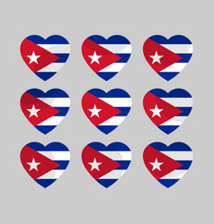 Heart with the flag of cuba vector