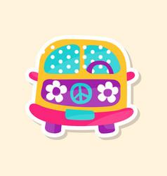 hippie van from 60ies in flower style cute vector image