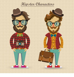 Hipster characters vector image