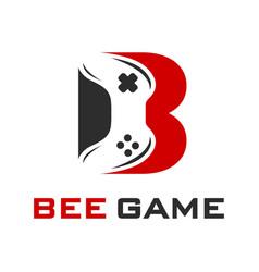Initial game stick logo design b vector
