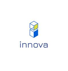 Isometric i letter logo template vector
