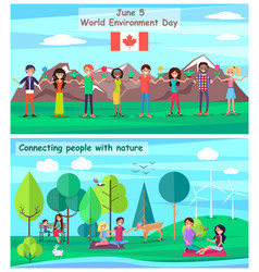 June 5 connecting people with nature set posters vector