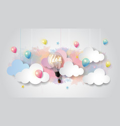 Light bulb balloon on watercolor sky idea concept vector