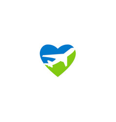 Love travel airplane logo vector