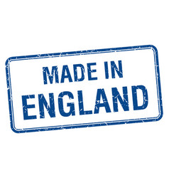 made in england blue square isolated stamp vector image